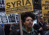 NEW YORK, NY - APRIL 07 : Demonstrators gather near to Trump Tower at a rally to condemn the U.S. Bombing of Syria. The United States launched a military strike Thursday on a Syrian government airbase in response to a chemical weapons attack that killed dozens of civilians earlier in the week. In New York City on April 07, 2017. VIEWpress/Maite H. Mateo