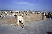 The walls of 'The Ark',  royal town within a town, the oldest structure in the city and once the home of the Emir of Bukhara, in the Old Silk Road trading route city of Bukhara, Uzbekistan