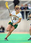 9 April 2008: University of Vermont Catamounts' Attackman Tori Wasson, a Junior from Lake Forest, IL, in action against the University of New Hampshire Wildcats at Moulton Winder Field, in Burlington, Vermont. The Catamounts rallied to defeat the visiting Wildcats 9-8 in America East divisional play...Mandatory Photo Credit: Ed Wolfstein Photo