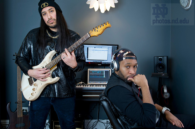 Mar 3, 2013; 2013; Singer songwriter/producer, Lawrence Santiago (left) and rapper/songwriter, Jeffery Stephens - Santiago x The Natural in Chicago.  Photo by Barbara Johnston/University of Notre Dame
