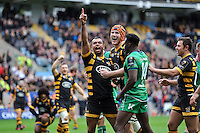 Kurtley Beale of Wasps celebrates scoring a try on his debut for the club. European Rugby Champions Cup match, between Wasps and Connacht Rugby on December 11, 2016 at the Ricoh Arena in Coventry, England. Photo by: Patrick Khachfe / JMP