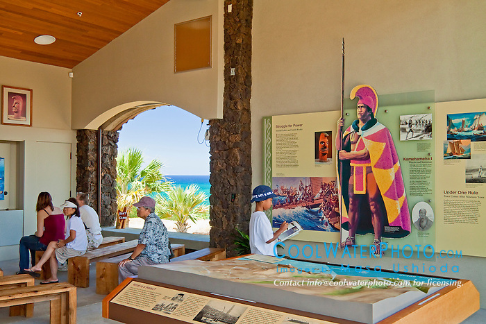 visitors looking at artifacts and exhibitions at visitor center, Puukohola Heiau National Historic Site, Kawaihae, Kohala, Big Island, Hawaii, USA