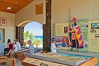 visitors looking at artifacts and exhibitions at visitor center, Puukohola Heiau National Historic Site, Kawaihae, Kohala, Big Island, Hawaii, USA