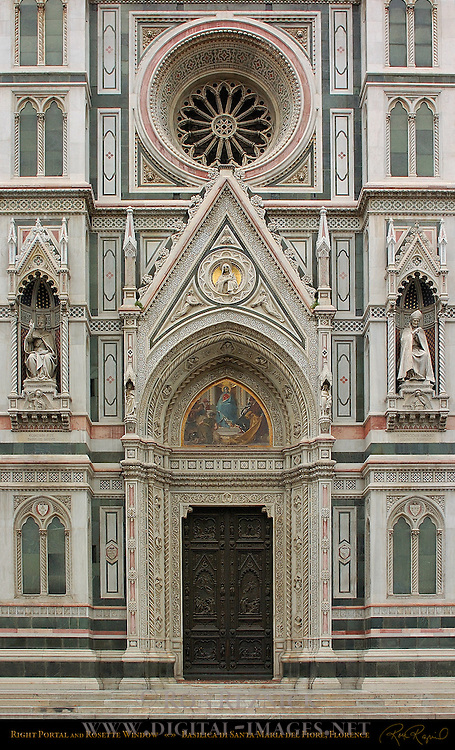 Lunette Tympanum Rosette Window Statues of Pope Eugenius IV St Antoninus Right Portal 19th c Facade Santa Maria del Fiore Florence