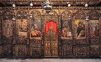 Iconostasis painted by Onufri in the 16th century, in the main nave of the Cathedral of the Virgin Mary at the National Onufri Museum, inside Berat Castle or Kalaja e Beratit, in Berat, South-Central Albania, capital of the District of Berat and the County of Berat. The cathedral was built in 1797 on the foundations of an older church and its museum is named after Onufri or Onouphrios of Neokastro, Albania's famous 16th century icon painter. The museum comprises the main nave, the altar area, and several rooms in the North and West of the church. Picture by Manuel Cohen