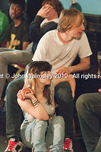 Chilling out before the show.  Students on the 2yrs National Diploma in Music course put on an evening of bands at the Grey Horse pub, Kingston upon Thames.  They would have organised everything themselves: marketing, DJ-ing, production and performing.