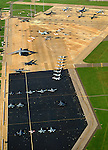 Aerial: Military Aircraft  Langley Air Force Base, Hampton Roads Virginia October 1996 after an airshow. Used in &quot;Where Banners Flew&quot;..