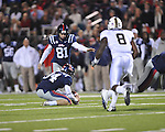 Ole Miss' Bryson Rose (81) kicks vs. Vanderbilt at Vaught-Hemingway Stadium in Oxford, Miss. on Saturday, November 10, 2012.
