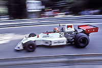 British driver Tony Brice handles his Williams-Ford during the training sessions of the 1975 Spanish Grand Prix