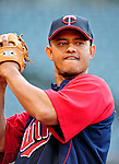 4 September 2009: Minnesota Twins' shortstop Orlando Cabrera warms up prior to a game against the Cleveland Indians at Progressive Field in Cleveland, Ohio. The Indians defeated the Twins 5-2 to take the first game of their three-game weekend series. Mandatory Credit: Ed Wolfstein Photo