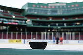 A puck broke during warmups, presumably due at least in part to the cold. - The University of Massachusetts Boston Beacons defeated the Salem State University Vikings 4-2 (EN) on Tuesday, January 7, 2014, at Fenway Park in Boston, Massachusetts.