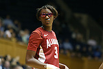 17 November 2013: Alabama's Khadijah Carter wears protective eyeglasses during the game. The Duke University Blue Devils played the University of Alabama Crimson Tide at Cameron Indoor Stadium in Durham, North Carolina in a 2013-14 NCAA Division I Women's Basketball game. Duke won the game 92-57.