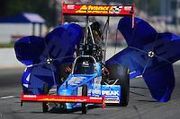 May 5, 2012; Commerce, GA, USA: NHRA top fuel dragster driver T.J. Zizzo during qualifying for the Southern Nationals at Atlanta Dragway. Mandatory Credit: Mark J. Rebilas-