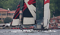 Extreme Sailing Series 2011. Act 3.Turkey . Istanbul.Alinghi skippered by Tanguy Cariou collides with Team Extreme skippered by Roland Gaebler.Credit Lloyd Images