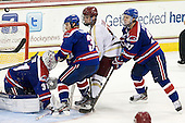 Doug Carr (UML - 31), Chad Ruhwedel (UML - 3), Destry Straight (BC - 17), Zack Kamrass (UML - 27) - The Boston College Eagles defeated the visiting University of Massachusetts Lowell River Hawks 6-3 on Sunday, October 28, 2012, at Kelley Rink in Conte Forum in Chestnut Hill, Massachusetts.