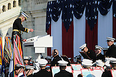 """Washington, DC - January 20, 2009 -- The """"President's Own"""" United States Marine Band performs at the U.S. Capitol during the 56th Presidential Inauguration in Washington, D.C., Tuesday, January 20, 2009.  More than 5,000 men and women in uniform are providing military ceremonial support to the presidential inauguration, a tradition dating back to George Washington's 1789 inauguration. .Credit: Mark O'Donald - DoD via CNP"""