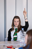 Bemrose School pupil Millie asks a question at the Women in Trains conference