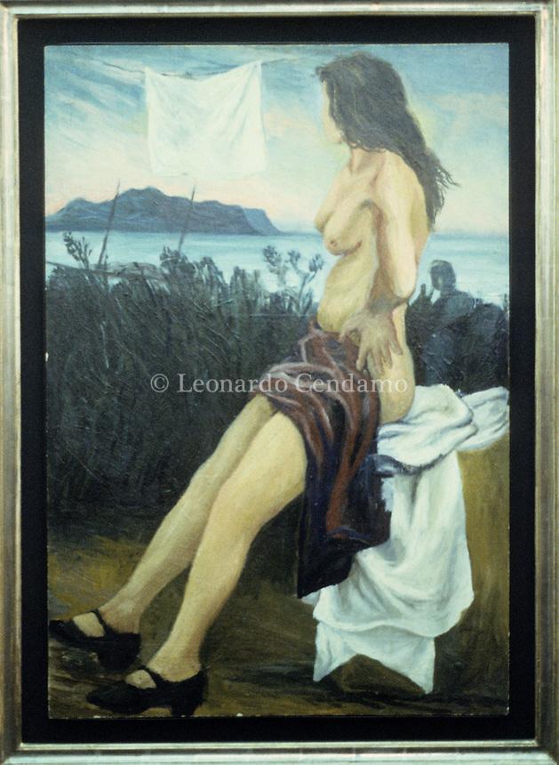 Renato Guttuso, pittore, quadri esposti alla mostra di Palazzo Reale di Milano. 1994, © Leonardo Cendamo