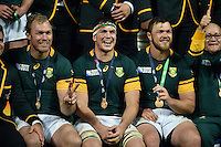 Francois Louw of South Africa is all smiles after the match. Rugby World Cup Bronze Final between South Africa and Argentina on October 30, 2015 at The Stadium, Queen Elizabeth Olympic Park in London, England. Photo by: Patrick Khachfe / Onside Images
