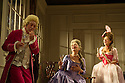 Bath, UK. 09.07.2012. THE SCHOOL FOR SCANDAL opens the Theatre Royal Bath's summer season of new in-house productions, overseen by leading guest director, Jamie Lloyd. Picture shows:  David Killick (Crabtree), Serena Evans (Lady Sneerwell), Susannah Fielding (Lady Teazle). Photo credit: Jane Hobson