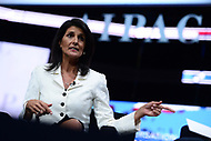 Washington, DC - March 27, 2017: United Nations Ambassador Nikki Haley answers questions during a moderated discussion at the AIPAC Policy Conference March 27, 2017, at the Verizon Center in the District of Columbia. (Photo by Don Baxter/Media Images International)