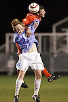 11 November 2005: Clemson's Jeff Routh outjumps North Carolina's Dax McCarty for a header. The University of North Carolina defeated Clemson University 2-0 at SAS Stadium in Cary, North Carolina in a semifinal of the 2005 ACC Men's Soccer Championship.