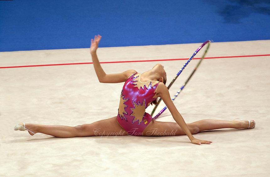 Oct 01, 2000; SYDNEY, AUSTRALIA:<br /> Almudena Cid Tostado of Spain performs with hoop during rhythmic gymnastics final at 2000 Summer Olympics.