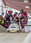 9 January 2016: Canadian pilot Justin Kripps leads his 4-man team as they push off their first run of the day at the BMW IBSF World Cup Bobsled Championships at the Olympic Sports Track in Lake Placid, New York, USA. Kripps' team came in 3rd for the day, with a 2-run combined time of 1:50.07. Mandatory Credit: Ed Wolfstein Photo *** RAW (NEF) Image File Available ***