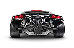 2014 Audi Quattro R8 twin-turbo limited edition sports car supercar rear view with exposed engine showing exhaust pipes isolated on white background with clipping path