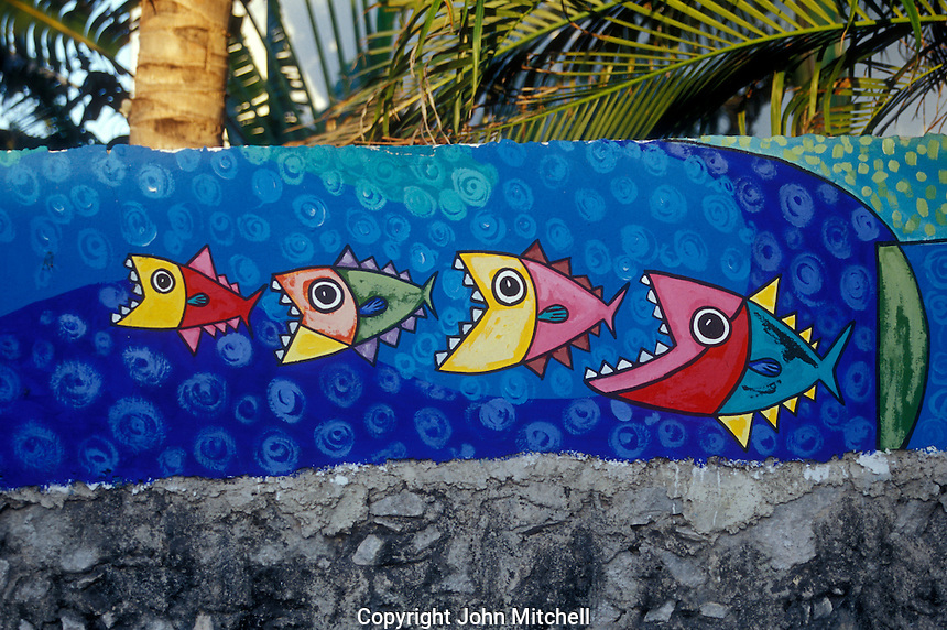 Colourful fish mural on a wall in San Miguel de Cozumel, island of Cozumel, Quintana Roo, Mexico