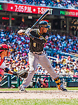 25 July 2013: Pittsburgh Pirates outfielder Starling Marte in action against the Washington Nationals at Nationals Park in Washington, DC. The Nationals salvaged the last game of their series, winning 9-7 ending their 6-game losing streak. Mandatory Credit: Ed Wolfstein Photo *** RAW (NEF) Image File Available ***