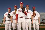 Feb 23, 2011 -- Clearwater, FL, U.S.A. -- Philadelphia Phillies pitching staff - Cliff Lee, Roy Oswalt, Roy Halladay, Joe Stanton and Cole Hamels -- ..Photo by Preston C. Mack, Freelance.