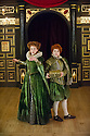 London, UK. 25.02.2014.  Shakespeare's Globe presents THE KNIGHT OF THE BURNING PESTLE, directed by Adele Thomas, in the Sam Wanamaker Playhouse. Picture shows: Hannah McPake (Mistress Merrythought) and Giles Cooper (Michael). Photograph © Jane Hobson.