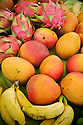 Dragon fruit, mango and bananas at fresh produce stand on the Hana Highway; Maui, Hawaii.