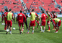April 27, 2013: Toronto FC players warm-up during a game between Toronto FC and the New York Red Bulls at BMO Field  in Toronto, Ontario Canada..The New York Red Bulls won 2-1.
