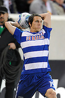 Zach Loyd (19) of FC Dallas on a throw in. The New York Red Bulls defeated FC Dallas 2-1 during a Major League Soccer (MLS) match at Red Bull Arena in Harrison, NJ, on April 17, 2010.