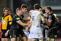 Tempers flare between both sides during a break in play. European Rugby Champions Cup match, between Bath Rugby and Leinster Rugby on November 21, 2015 at the Recreation Ground in Bath, England. Photo by: Patrick Khachfe / Onside Images