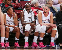 STANFORD, CA - February 10, 2013: Stanford Cardinal's Amber Orrange, Chiney Ogwumike, and Joslyn Tinkle at the end of Stanford's game against Arizona State at Maples Pavilion in Stanford, California.  The Cardinal defeated the Sun Devils 69-45.