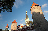 Medieval Old Hansa Tallinn Town Wall Towers and St. Olaf Church, Estonia