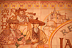 Decorative tiles in La Taurina restaurant, established in 1939, in Segovia, Spain that depict traditional costumes