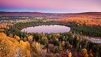Oberg lake at sunrise in late autumn.