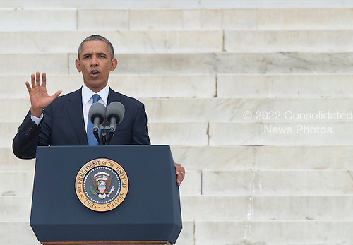 United States President Barack Obama makes remarks at the Let Freedom Ring ceremony on the steps of the Lincoln Memorial to commemorate the 50th Anniversary of the March on Washington for Jobs and Freedom<br /> Credit: Ron Sachs / CNP