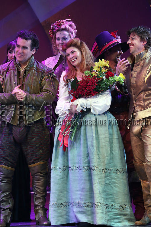 Brian d'Arcy James, Angie Schworer, Heidi Blickenstaff and Christian Borle during the Broadway Opening Night Curtain Call for 'Something Rotten' at the St. James Theatre on April 22, 2015 in New York City.
