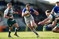 Brad Barritt of Saracens in possession. Aviva Premiership match, between Leicester Tigers and Saracens on March 20, 2016 at Welford Road in Leicester, England. Photo by: Patrick Khachfe / JMP