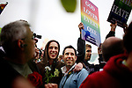 San Francisco's gay and lesbian community celebrates same-sex marriages at City Hall, in San Francisco, CA, on Monday, June 16, 2008. Same sex marriage supports meet protestors at San Francisco's City Hall as the city reopens marriage licenses to same sex couples.