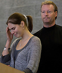 Amanda Knox, left, breaks down as her father Kurt looks on during a news conference held  at the Seattle-Tacoma International Airport near Seattle, Washington on October 4, 2011. Knox arrived in the United States after departing Rome's Leonardo da Vinci airport,. Knox's life turned around dramatically Monday when an Italian appeals court threw out her conviction in the sexual assault and fatal stabbing of her British roommate.  ©2011. Jim Bryant Photo. All Rights Reserved.