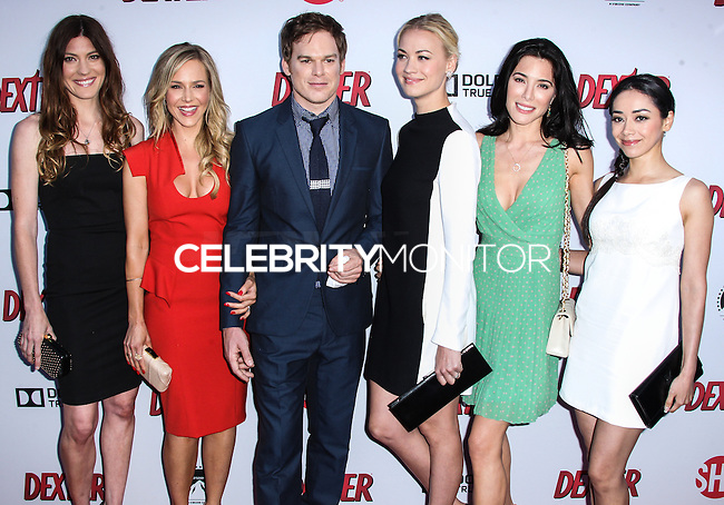 HOLLYWOOD, CA - JUNE 15: Jennifer Carpenter, Julie Benz, Michael C. Hall, Yvonne Strahovski, Jaime Murray and Aimee Garcia arrive at the premiere screening of Showtime's 'Dexter' Season 8 at Milk Studios on June 15, 2013 in Hollywood, California. (Photo by Celebrity Monitor)