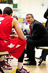 21 January 2010: Stony Brook University Seawolves' Head Coach Steve Pikiell, in his fifth year at the helm of the team, gives instruction during a time out against the University of Vermont Catamounts at Patrick Gymnasium in Burlington, Vermont. The Catamounts fell to the Seawolves 65-60 in the America East matchup. Mandatory Credit: Ed Wolfstein Photo