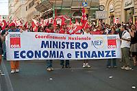Roma 6 Settembre 2011.Manifestazione del sindacato CGIL contro la manovra del governo Berlusconi. I lavoratori del ministero Economia e Finanze