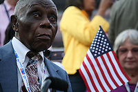 "Strathwell Johnson, a ""Silver Haired Legislator: Representative"" delegate from Shiro, Texas, on the floor of the Democratic National Convention, Invesco Field at Mile High Stadium, Denver, Colorado, August 28, 2008."